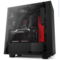 NZXT Source S340 Elite Tempered glass ATX черен/червен кутия