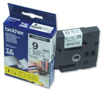 Brother TZ-221 Tape Black on White Laminated 9mm - Eco