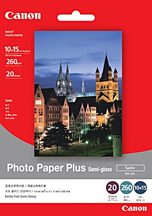 Canon SG-201 S Photo Paper Plus 50 л. Photo Paper Plus ; 260 g/m3, дебелина: 260 µm; semi-glossy ; 50 л.