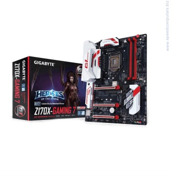 Дънна платка Gigabyte Z170X-GAMING 7 • ПроцесорSupport for Intel® Core™ i7 processors/Intel® Core™ i5 processors/ Intel® Core™ i3 processors/Intel® Pentium® processors/ Intel® Celeron® processors in the LGA1151 packageL3 cache varies with CPU