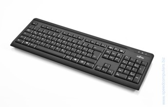 Мултимедийна клавиатура Fujitsu KB410 Черен USB The Fujitsu Keyboard KB410 is a high quality and functional keyboard. With its space saving design it is a good solution for every workplace. The ergonomic key design allows fast and precise work. It is the perfectly reliable input device for all everyday office tasks when paired with either a desktop PC or another system with a USB interface.