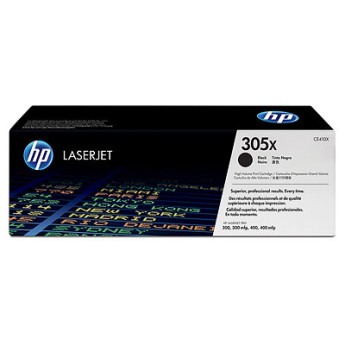 HP 305X Black LaserJet Toner Cartridge CE410X Cartridge colors: BlackPrint technology: LaserPage yield black: Average continuous Black Cartridge yield 4000 standard pages. Declared yield value in accordance with ISO/IEC 19798.Page yield footnote: Actual yields vary considerably based on images printed and other factors
