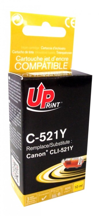Мастилница заместител CLI521 CANON, С чип, Yellow Compatible with: Canon PIXMA IP3600/IP4600/IP4700/MP1900/MP540/MP550/MP560/MP620/MP630/MP640 MP980/MP990/MX860/MX870 Page yield:   510 pages Color: Yellow