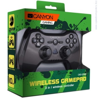 Джойстик CANYON 3in1 wireless gamepad  3in1 wireless gamepad, up to 8 hours of play time, transmission distance up to 10m, rubberized finishing, dual-shock vibration (Compatible with PC, PS2, PS3)