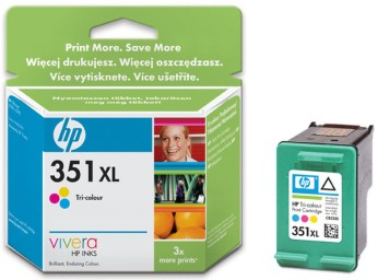 HP 351XL Tri-colour Inkjet Print Cartridge with Vivera Inks Цвят : Cyan, Magenta, YellowБрой страници : 580 странициCB338EE