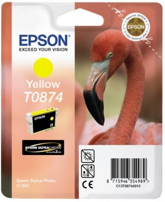 Epson T0874 Yellow Ink Cartridge - Retail Pack (untagged) for Stylus Photo R1900 for Stylus Photo R1900
