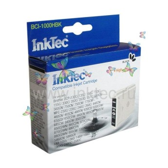 Мастилница InkTec BCI-1000HBK, BROTHER, Черна Compatible with: BROTHER DCP 130C/ 135C/ 150C/ 153C/ 155C/ 330C/ 350C/ 353C/ 357C/ 540CN/ 560CN/    750CN/ 750CW/ 770CW     MFC 230C/ 235C/ 240C/ 260C/ 440CN/ 460CN/ 465CN/ 480CN/ 630CD/ 630CDW/ 650CD/   650CDW/ 660CN/ 665CW/ 680CN/ 685CW/ 845CW/ 850CDN/ 850CDWN/ 860CDN/ 870CDN/    870CDWN/ 880CDN/ 880CDWN/ 885CW/ 3360C/ 5460CN/ 5860CN    FAX 1355/ 1360/ 1460/ 1560/ 1860C/ 1960C/ 2480C/ 2580C Page yield:   500 pages Color: Black