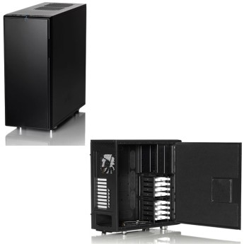 "Кутия Fractal Design Define XL R2 Black Pearl • ATX, Micro ATX, mini-ITX, E-ATX and XL-ATX motherboard compatibility• 4 - 5.25"" bays• 8 - 3.5"" HDD trays - all compatible with SSDs• A total of 9 expansion slots• 3 - ModuVent™ plates – two in the top and one in the side• 7 - Fan positions (3 fans included)• Filtered fan slots in front and bottom"