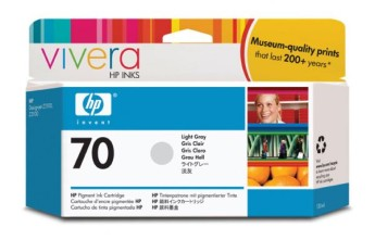 HP 70 130 ml Light Grey Ink Cartridge with Vivera Ink, HP Designjet Z2100, Z3100 Съвместимост : HP Designjet Z2100, Z3100Цвят : Светло сивC9451A