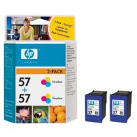 HP 57 Tri-colour Inkjet Print Cartridge 2-pack (2xC6657AE)