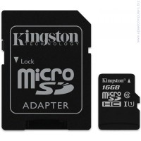 KINGSTON 16GB microSDHC Class 10 UHS-I G2 + SD адаптер карта памет
